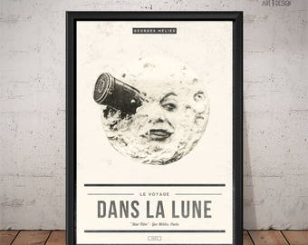 Le Voyage dans la Lune - A Trip to the Moon Poster - Unique Retro Movie Poster - Film Print, Wall Art, Movie Print
