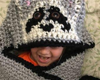 Raccoon blanket, Raccoon throw, Raccoon wrap, Raccoon lap blanket, Raccoon hooded blanket, Blanket with hood, Raccoon crochet blanket