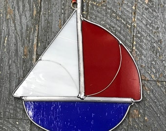 Stained Glass Sun Catcher Ornament Sailboat