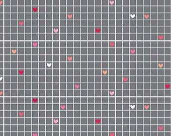 REMNANT Lovebug Grid Heart Gray Grey Cotton Fabric from Lovebugs Collection by Doodlebug Designs for Riley Blake Designs per FQ per metre