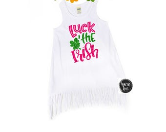 Luck of the Irish - Girls' Fringe Dresses - Glitter Shamrock - St. Paddy's Day - Girls' St. Patrick's Day - St. Patty's Day - Holiday