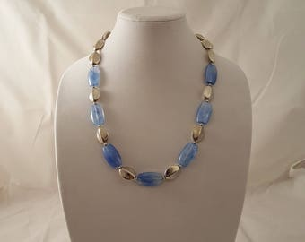 Blue & Silver Acrylic Beaded Necklace - Blue Necklace - Silver Necklace - Light Weight Necklace - Blue -Silver -Necklace -Light Blue Jewelry
