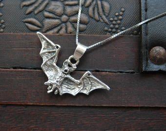 bat pendant, vampire pendant, sterling silver bat, bat necklace (P44)