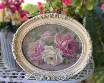 Christie Repasy Rose Bouquet Framed Giclee Print, Shabby Chic Rose Painting, Signed Vintage Christie Repasy Pink , White Roses in Frame Z4
