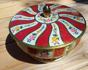 Vintage Tin, Vintage Candy Tin Container, Vintage Tin Biscuit, Decorative Tin Container ,