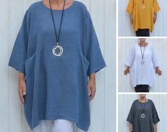 Womens Plus Size Shirt,Plus Size Tunic,Linen Top,Lagenlook Clothing,Bohemian,Plus Size Linen,Plus Size Clothing,1X 2X 3X 4X, UK 16-32 9479