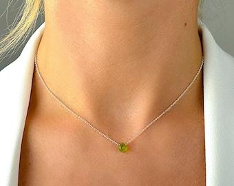 Tiny Peridot Necklace Pendant, August Birthstone, Libra Birthstone, Green Gemstone, Birthday gift, 14K Rose Gold Filled Sterling Silver