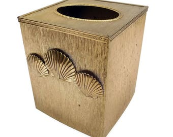 Vintage Stylebuilt Tissue Box Holder Cover Textured Gold with Sea Shells