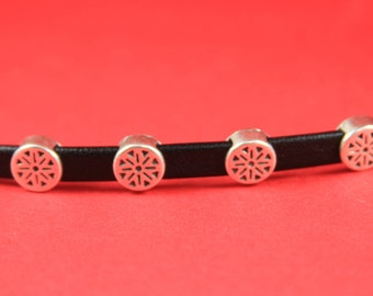 3A/10 MADE in EUROPE 4 zamak sliders for 6mm cord, flat cord round slider, zamak round slider (14518/06) qty4