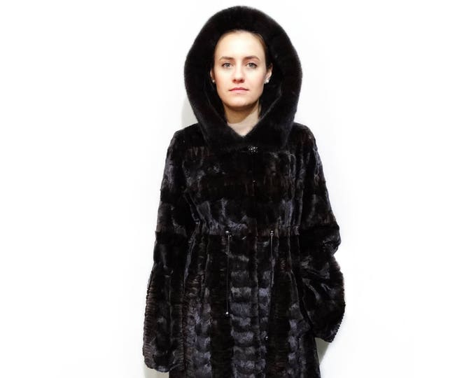 Woman Fur Coat,Real Mink Fur sheared with Hood F380