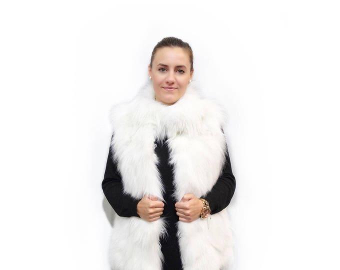 White Fur Vest,Real Fox Fur Vest F329