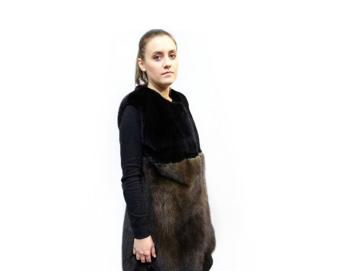 Luxury Vest,Real Mink Fur & Fisher Fur Vest,Long Fur Vest F190
