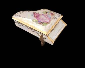 vintage Limoges porcelain jewelry box, piano shaped, porcelain trinket box