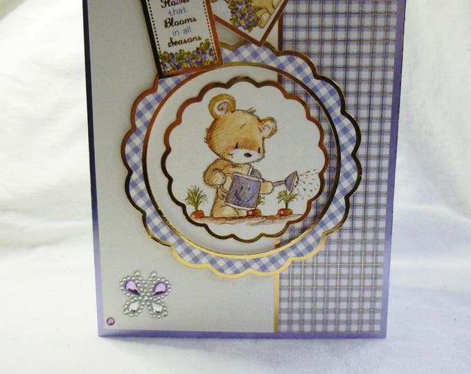 Teddy Birthday Greeting Card, Friendship Card,  Teddy Bear Card, Lilac and Gold, Any Age, Female, Mum, Sister, Daughter, Niece, Friend