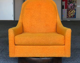 Mid Century Modern Retro Milo Baughman Style Floating Orange Swivel Lounge  Chair With Wood Base Club