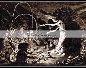 Digital Download Printable Art - The Sorceress Witch Witchcraft Wicca Spells Magic Demons Evil Antique Art Image - Paper Crafts Altered Art