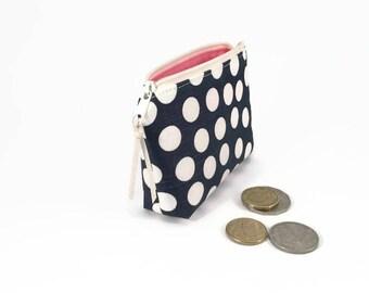 Coin purse, Polka dots, Coin zipper purse, Linen coin purse, Coin pouch, Polka dot zipper pouch, Small zipper pouch, Small purse, Blue purse