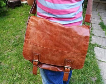 Vintage FOSSIL TAN Leather Shoulder Strap Messenger Bag Satchel, Distressed Vintage Authentic Fossil Crossbody, Bag Messenger, Briefcase