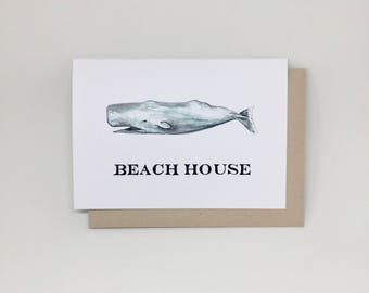Beach House with Whale hand painted greeting card, blank greeting cards, Beach House, whale