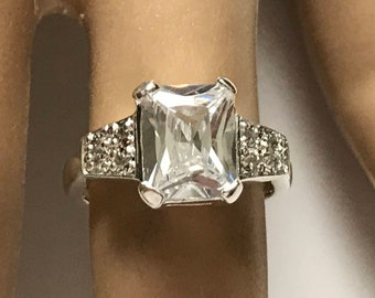 Sterling Silver Large Emerald Cut Cubic Zirconia cz Solitaire Ring