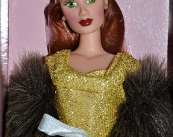 Mikelman Fabulous Fur Charise Solid Gold Doll, Barbie Style Doll, Vintage Barbie Size Doll, Auburn 12Inch Doll, Collector Doll, Charise Doll