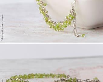 FREE SHPPING Peridot bracelet, Peridot jewelry, August birthstone jewelry, Olive bracelet, August birthstone bracelet, Peridot birthstone