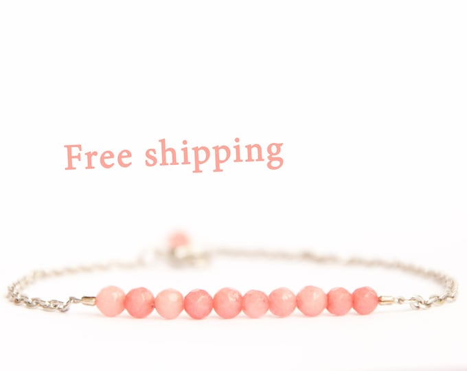 Pink opal bracelet, Small birthday gift, Pink opal jewelry, Opal stone jewelry, Opal stone bracelet, Valentine gift for wife