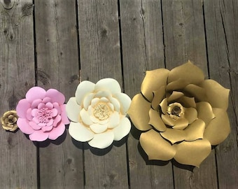 Paper Flower Wall Decor - Individual Paper Flowers for DIY Wall Display,Paper Flowers,Paper Flower Wall Display,Paper Flowers for Nursery
