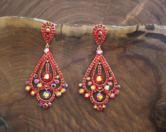 red and ab rhinestone earrings, red large earrrings, red pageant earrings, red/ab prom earrings, chandelier earrings