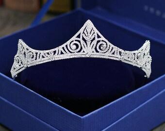 Swarovski Crystal Tiara Princess wedding tiara Rhinestone Tiara Luxury tiara Cubic Zirconia Tiara Zirconia Wedding Crown  Bridal Tiara