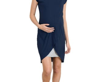Hello Miz Short Sleeve Round Neck Color Block Asymmetrical Wrap Modal Nursing Dress
