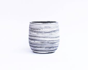 Black + White Marbled Sake Cup