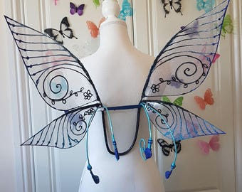 Black and Blue Pixie Wings with Curls and Bottom Flybacks