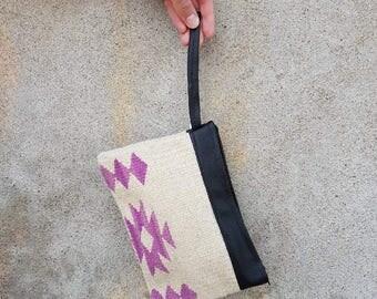 Sheep wool and leather handbag