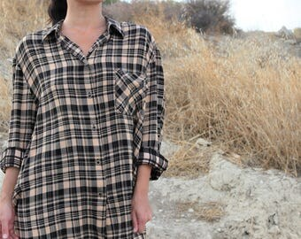 Beige black  plaids-checks over size long sleeve button down shirt.