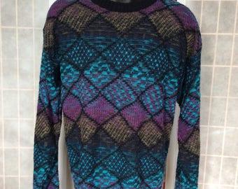Vintage 1980s/ 90s// Cool Colors Black Diamond Geometric Pattern// CC Sport// Knit Sweater// L
