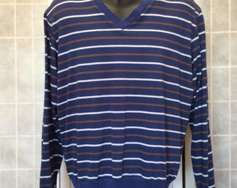 Vintage 1980s// Long Sleeve T Shirt// Blue White Brown Stripes// V Neck// By Sears, The Men's Store// M