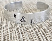 Custom Personalized Cuff Bracelet - Hand Stamped Bracelet - Love Bracelet - Friendship Bracelet - Engagement Gift