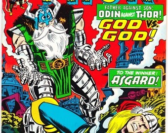 Thor 217 comic. Odin, Bronze age, Asgard, Norse Thunder Gods, Vintage book. Art by Buscema. 1973 Marvel Comics in VF+ (8.5)