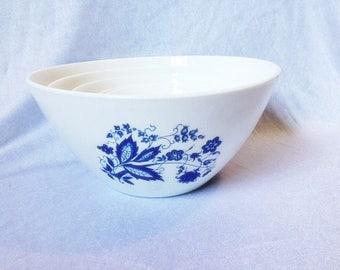 Vintage Arcopal France Bowl  Set Of 5 Blue White Milk Glass Bowl Milkglass Dish Set