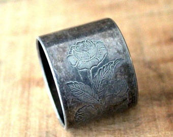 Victorian Napkin Ring ,Etched Tin, Edwardian, Antique Engraved Napkin Ring, Butterfly and Rose Design, Tin, Vintage Tablesetting