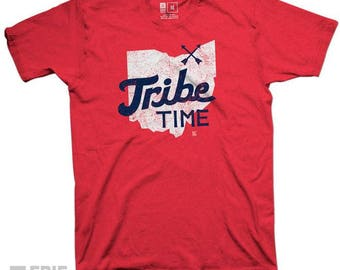 Tribe Time Tee - Red Cleveland Baseball Tribe Time Indians  Red Premium T-shirt