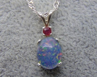 Australian opal triplet ruby pendant opal triplet solid sterling silver necklace ruby necklace free shipping October birthstone July
