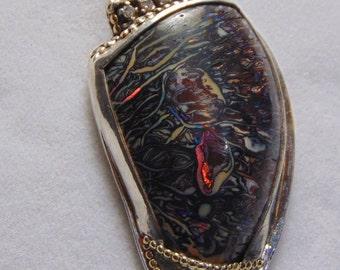 Koroit boulder opal diamond pendant diamond pendant gold opal necklace accented opal silver opal pendant solid sterling silver knife pendant
