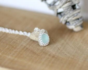 Pale Blue Genuine Sea Glass Necklace, beach glass, beach jewellery, beach wedding
