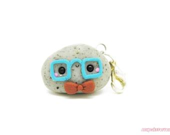 Kawaii Pet Rock Charm, Polymer Clay Charms, Kawaii Charm, Kawaii Clay Charms