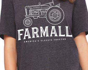 Farmall Tractor Arch   Farm   Farm Shirt   Farm Girl   Ladies Fitted Crew   Soft