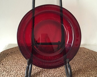 Ruby Red Glass Rimmed Bowl by Arcoroc France Replacement Pieces