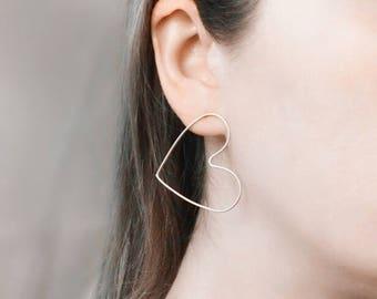 Rose gold heart earrings Solid gold earrings Statement heart studs 14k gold earring Delicate studs Dainty earrings 14k rose gold