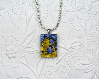 Rectangle Photo Necklace with Image of Purple and Yellow Pansies